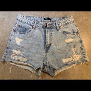 BLUENOTES distressed light-wash jean shorts